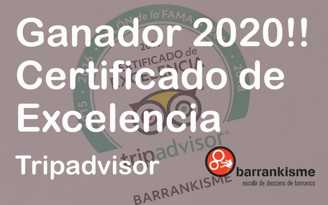 Barrankisme Gana el premio Travelers 'Choice 2020 de Tripadvisor por empresa especializada en descensos de barrancos.